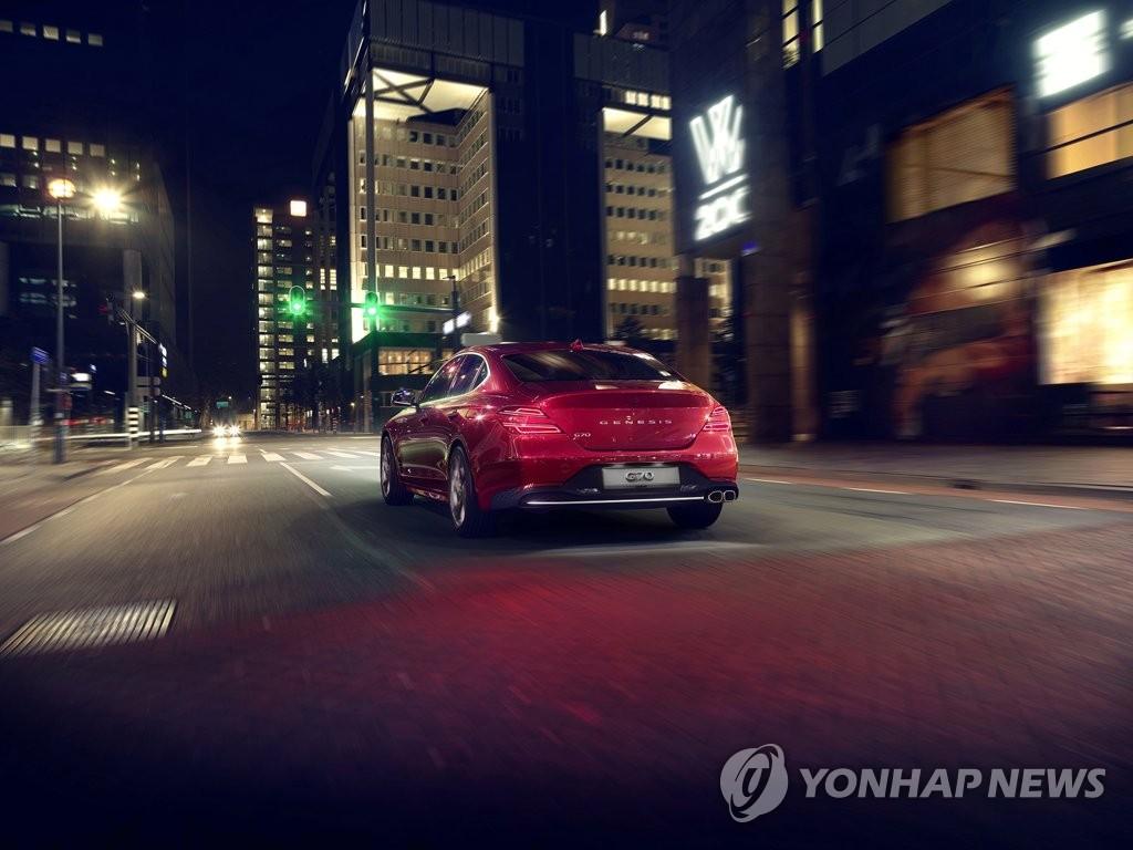 资料图片:现代捷尼赛思公开的新款G70外观 韩联社/现代起亚汽车供图(图片严禁转载复制)