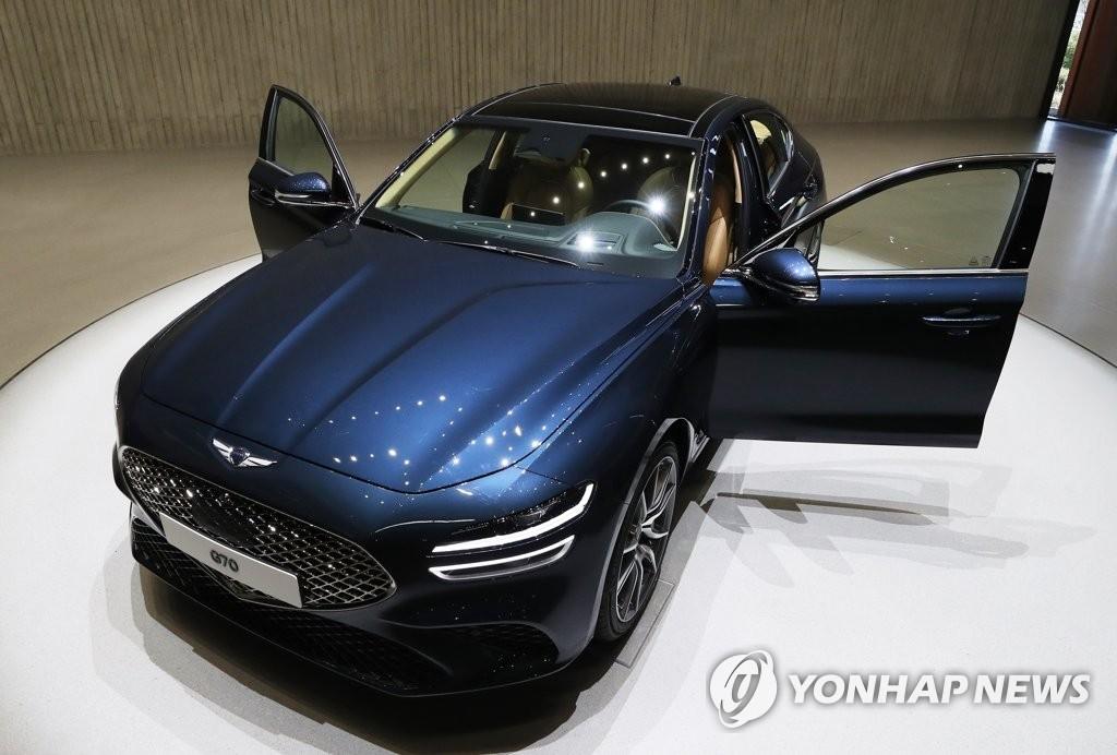 资料图片:现代高端品牌捷尼赛思全新G70 韩联社