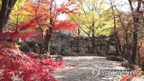 开城朴渊瀑布一带秋景