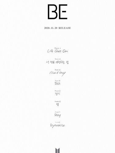 防弹少年团新辑《BE》歌单 Big Hit娱乐供图(图片严禁转载复制)