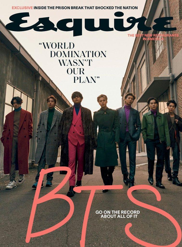 防弹少年团登上美国时尚杂志《Esquire》封面。 Big Hit娱乐供图(图片严禁转载复制)