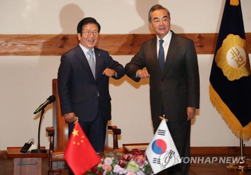 王毅和韩国会议长碰肘致意