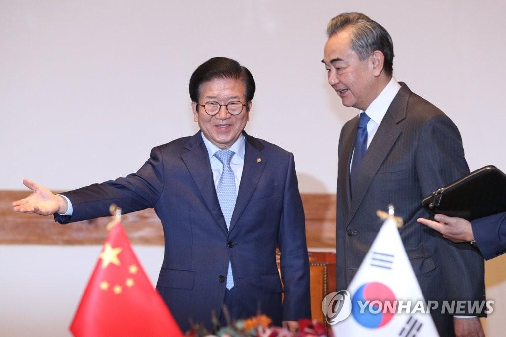 韩国会议长朴炳锡接见王毅