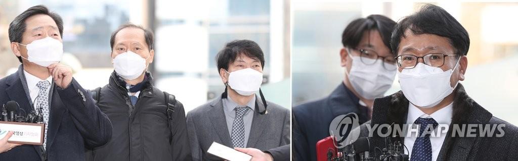 左图为尹锡悦的律师李锡雄(左起)、李完揆和孙庆植,右图为法务部代理师李沃衡。 韩联社