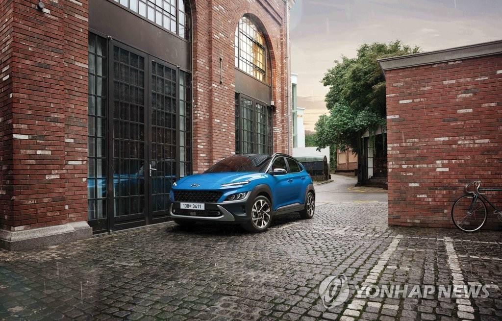 现代汽车1月14日表示,旗下品牌全新KONA汽油版面市。 韩联社/现代汽车供图(图片严禁转载复制)