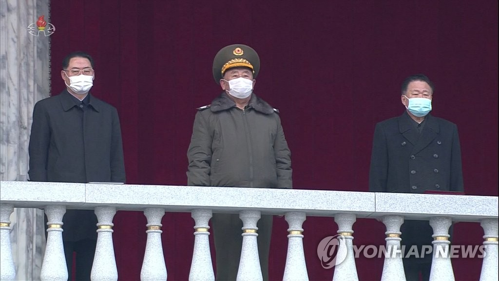 朝鲜高干观看军民联合大会