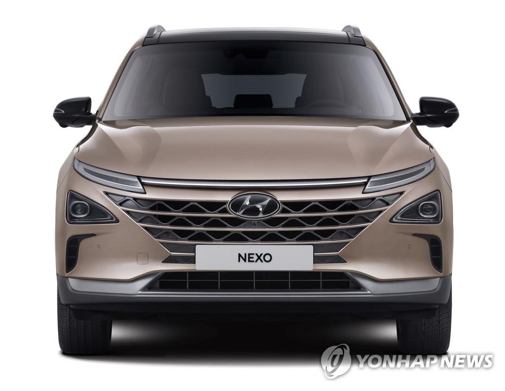 """资料图片:现代汽车1月18日表示,旗下安全配置升级、售价却更低的氢燃料电池车""""2021款NEXO""""正式上市。 韩联社/现代汽车供图(图片严禁转载复制)"""