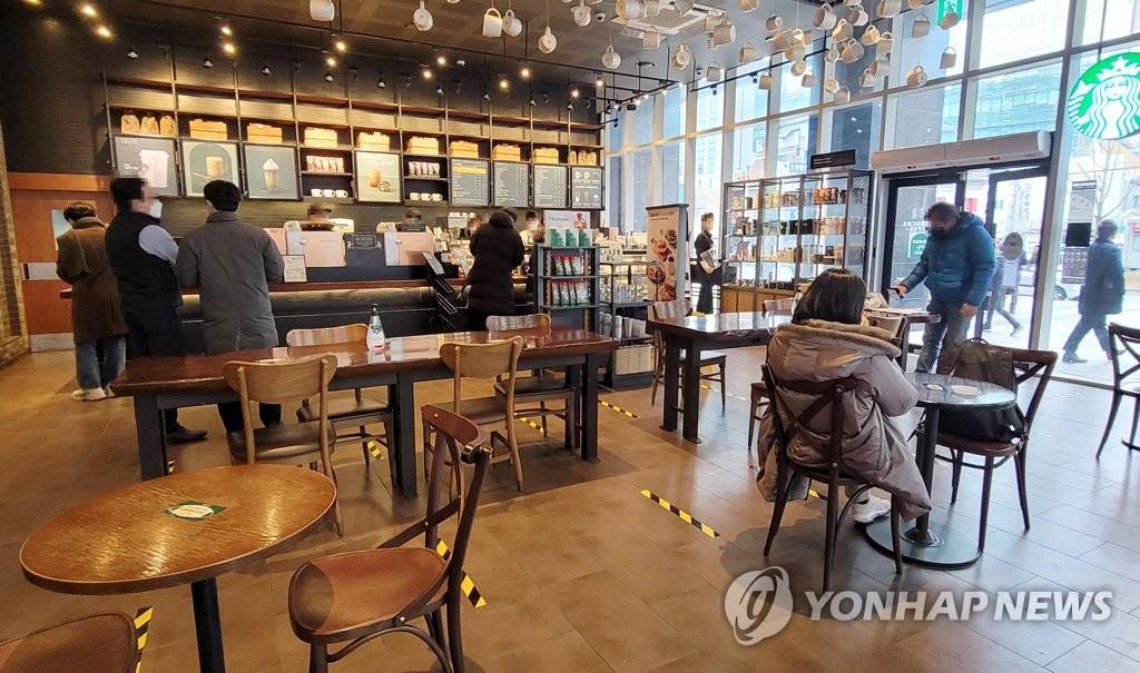 首尔钟路区的一家咖啡厅,图片摄于1月18日。 韩联社