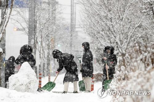 韩国南部暴雪