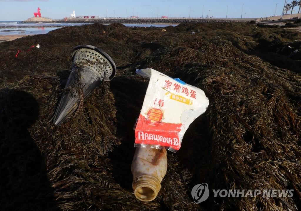 1月19日,在济州道济州市梨湖海水浴场,工作人员在清除自华流入的铜藻和海洋垃圾。 韩联社