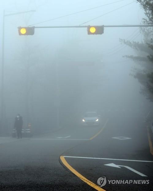 浓雾笼罩道路