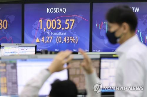 韩国创业板指KOSDAQ盘中突破1000点
