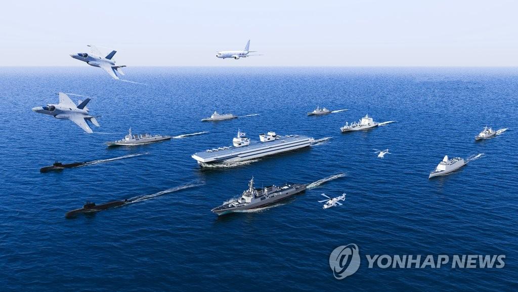 资料图片:韩国海军轻型航母研讨会上公开的航母战斗团图片 韩联社/韩国海军供图(图片严禁转载复制)