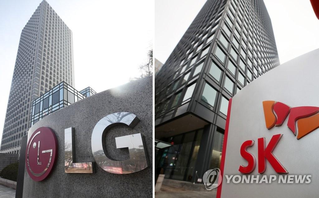 资料图片:LG(左)和SK总公司 韩联社