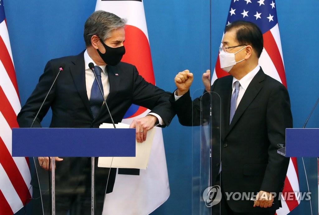 资料图片:韩国外交部长官郑义溶(右)和美国国务卿安东尼·布林肯 韩联社/联合摄影记者团