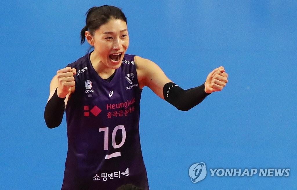 资料图片:韩国女排运动员金软景 韩联社