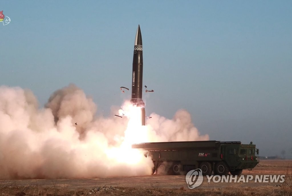 资料图片:朝鲜表示3月25日试射新型战术导弹。韩联社/朝鲜中央电视台画面截图(图片仅限韩国国内使用,严禁转载复制)