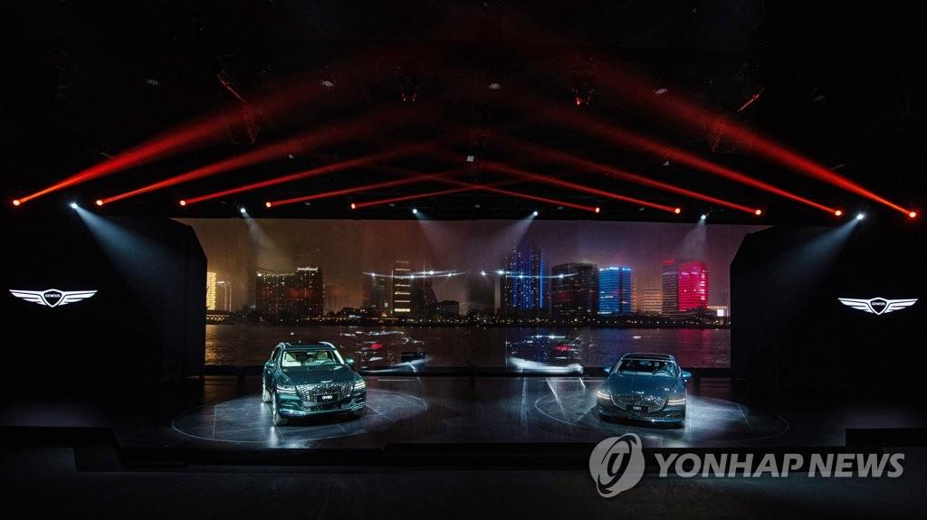 4月2日,捷尼赛思在上海北外滩举办品牌之夜活动,宣布正式登陆中国。 韩联社/捷尼赛思供图(图片严禁转载复制)