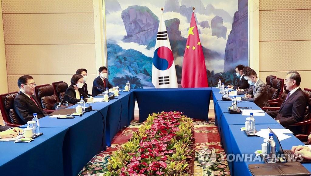 韩中外长会谈现场 韩联社
