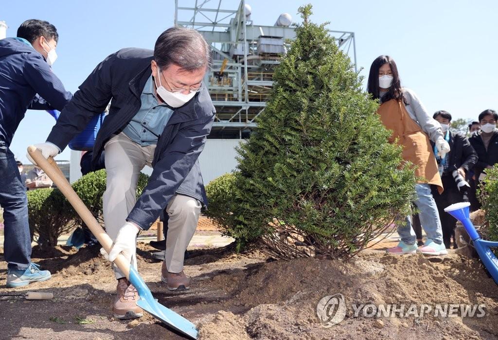 4月5日,在首尔综合火力发电站,韩国总统文在寅(左二)出席第76届植树日纪念活动,与小学生们一起植树。 韩联社