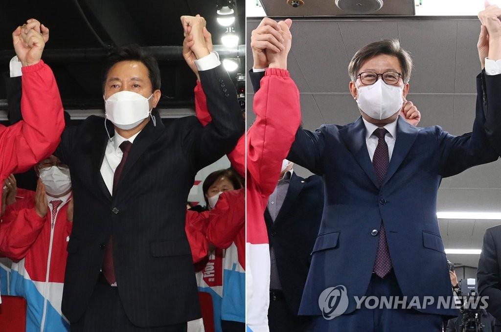 资料图片:国民力量党首尔市长候选人吴世勋(左)和釜山市长候选人朴亨埈 韩联社