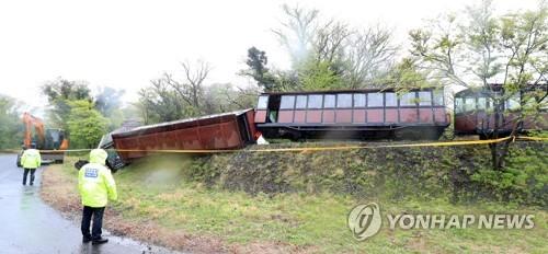 济州生态乐园小火车翻车