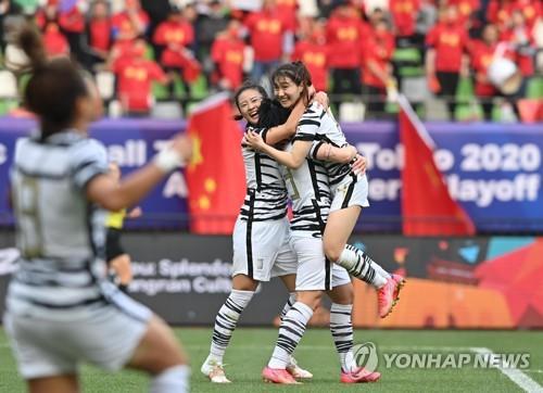 韩国队共庆进球