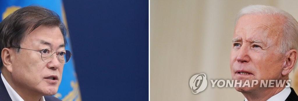 资料图片:文在寅(左)和拜登 韩联社