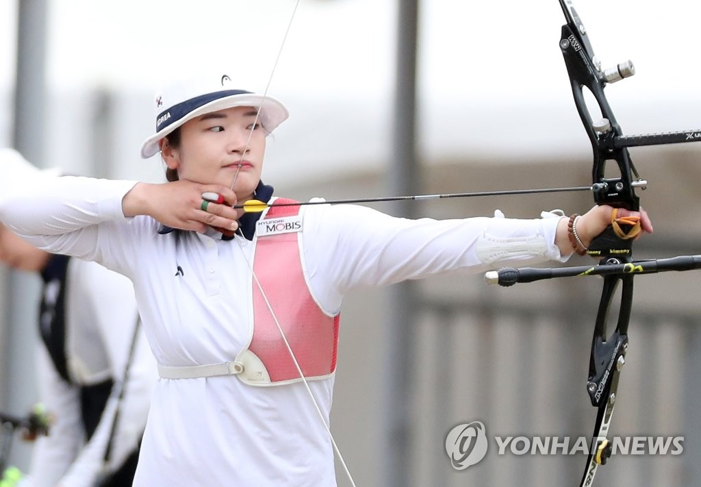 资料图片:女子射箭选手姜彩英(音) 韩联社
