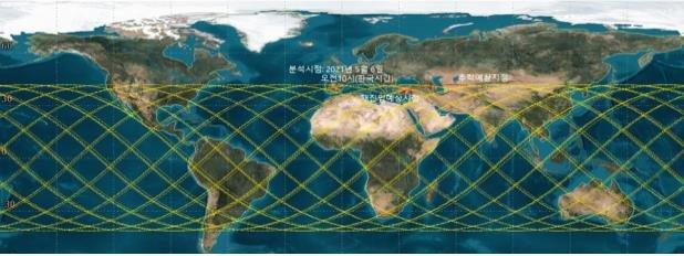 资料图片:坠落轨道预测图 科技部供图(图片严禁转载复制)