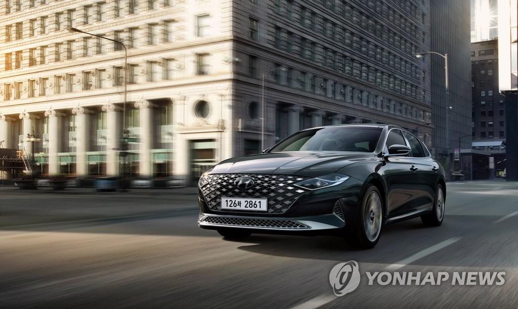现代汽车5月11日表示,旗下2021款雅尊(GRANDEUR)正式上市。图为2021款雅尊。 韩联社/现代汽车供图(图片严禁转载复制)