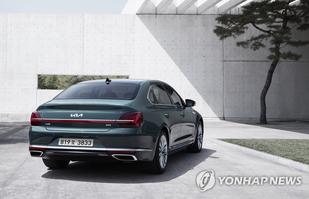 起亚公司5月17日公开了K9改良版——全新K9的外观设计。 韩联社/起亚供图(图片严禁转载复制)