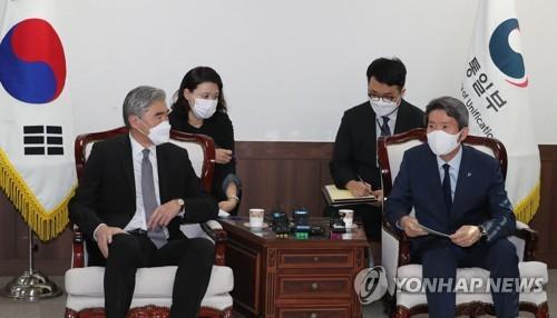 韩统一部长官会见美对朝代表