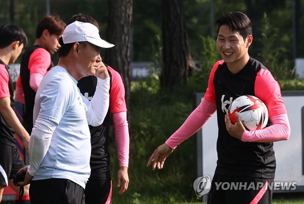 资料图片:韩国国奥队主教练金鹤范(左)和足球运动员李刚仁 韩联社