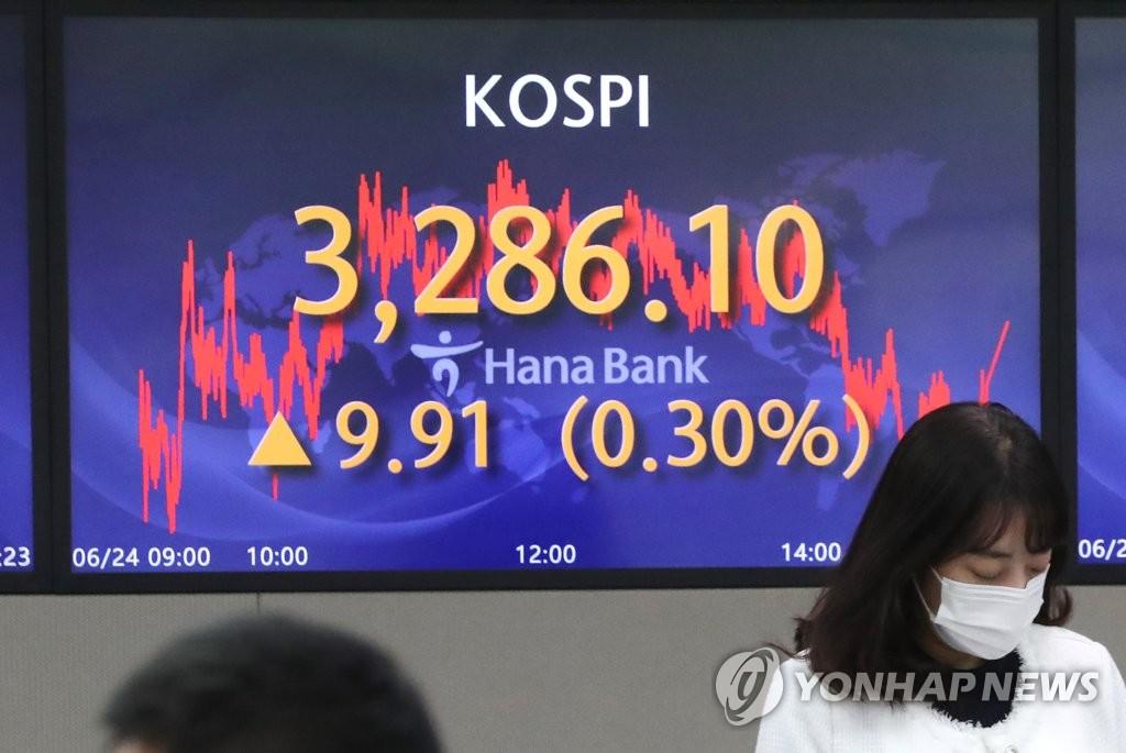 图为位于首尔中区的KEB韩亚银行总行交易室,摄于6月24日。 韩联社