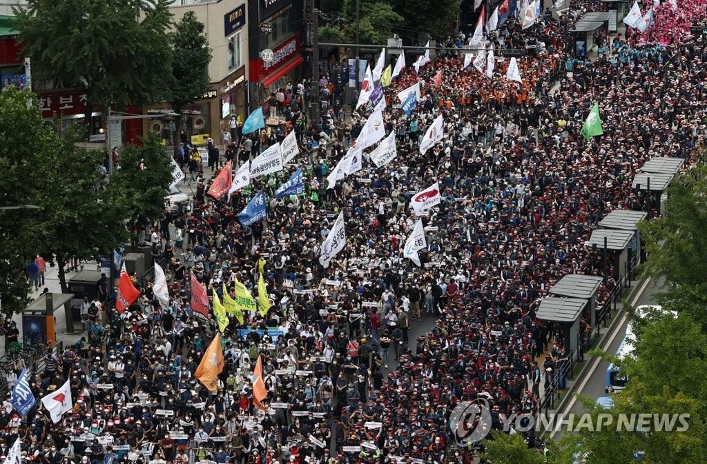 韩政府决定依法严惩工会联盟非法集会