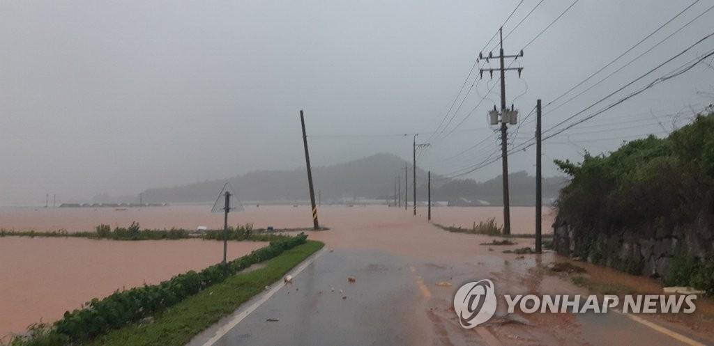 7月6日上午,暴雨突袭韩国西南地区。图为全罗南道海南郡花山面关东村的道路和农田被水淹没。 韩联社/读者供图(图片严禁转载复制)