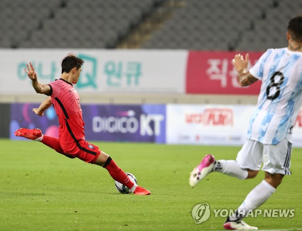 东京奥运男足热身赛韩国2比2踢平阿根廷