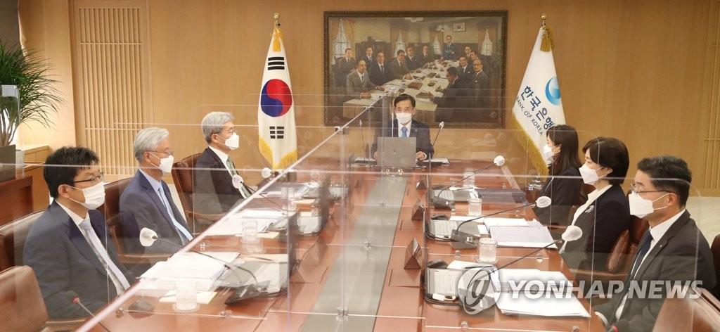 7月15日,韩国央行行长李柱烈主持召开金融货币委员会会议。 韩联社/韩国央行供图(图片严禁转载复制)