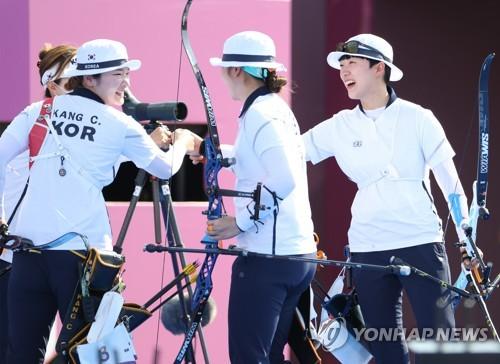 韩国射箭队进入团体赛决赛