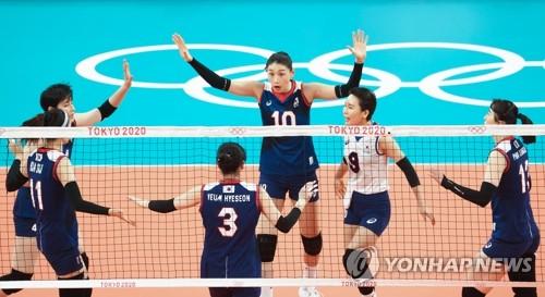 韩国女排庆祝得分