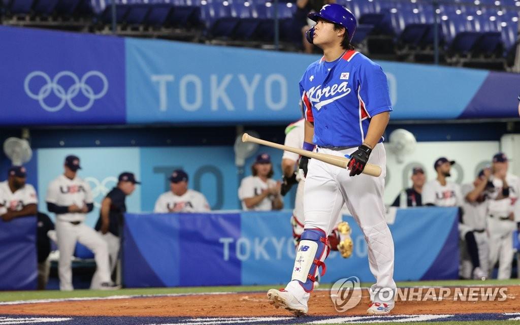 7月31日,东京奥运会棒球分组循环赛B组第二轮韩国队对阵美国的比赛在日本横滨棒球场进行。 韩联社