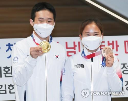 韩体操队载誉归国