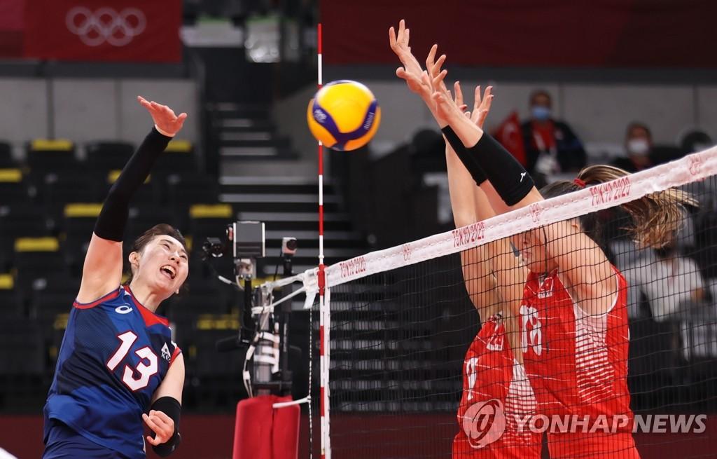 8月4日,东京奥运会女子排球八强赛韩国对阵土耳其的比赛在日本东京的有明竞技场进行,韩国队当天以3比2战胜土耳其。图为朴正娥进攻。 韩联社