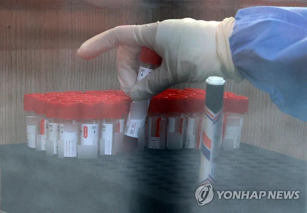 资料图片:8月25日,在位于首尔市中区首尔站广场的新冠筛查诊所,工作人员正在整理采集到的核酸样本。 韩联社