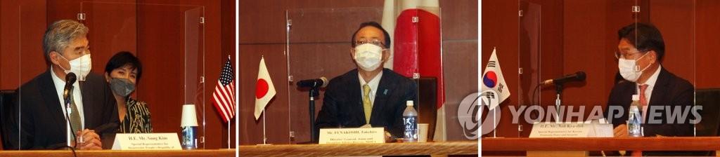 9月14日,在日本外务省国际会议室,美国对朝特别代表星·金(左起)、日本外务省亚洲大洋洲局局长船越健裕、韩国外交部韩半岛和平交涉本部长鲁圭悳举行会议。 韩联社