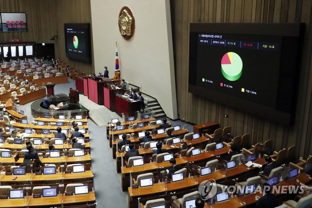韩国会通过李洛渊辞议员案