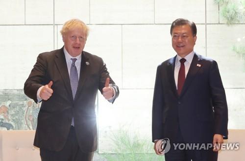 韩英领导人合影