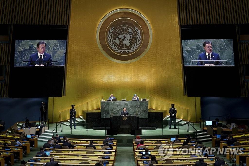 当地时间9月21日,在纽约,韩国总统文在寅出席第76届联合国大会一般性辩论并发表重要讲话。 韩联社