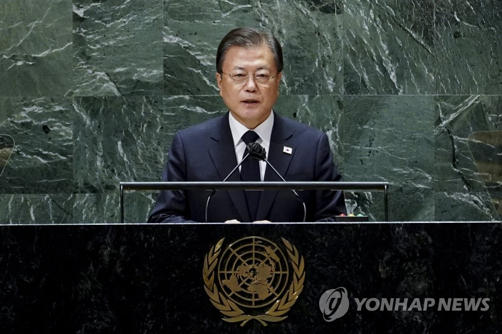 当地时间9月21日,在美国纽约,韩国总统文在寅出席第76届联合国大会一般性辩论并发表重要讲话。 韩联社